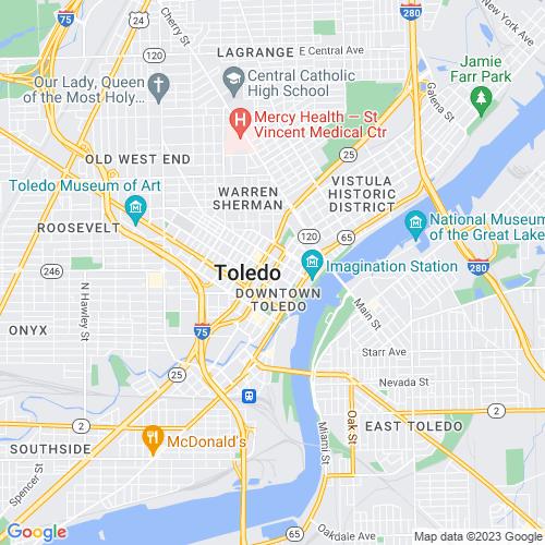 Map of Toledo, OH