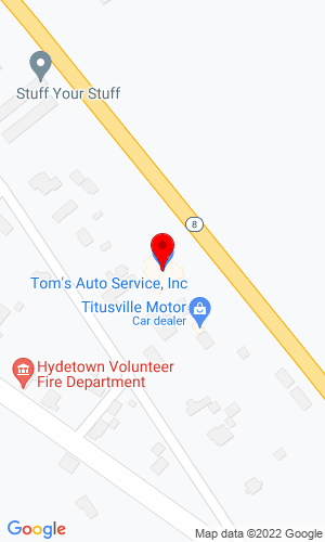 Google Map of Tom's Auto Service 12645 State Hwy 8, Titusville, PA, 16354