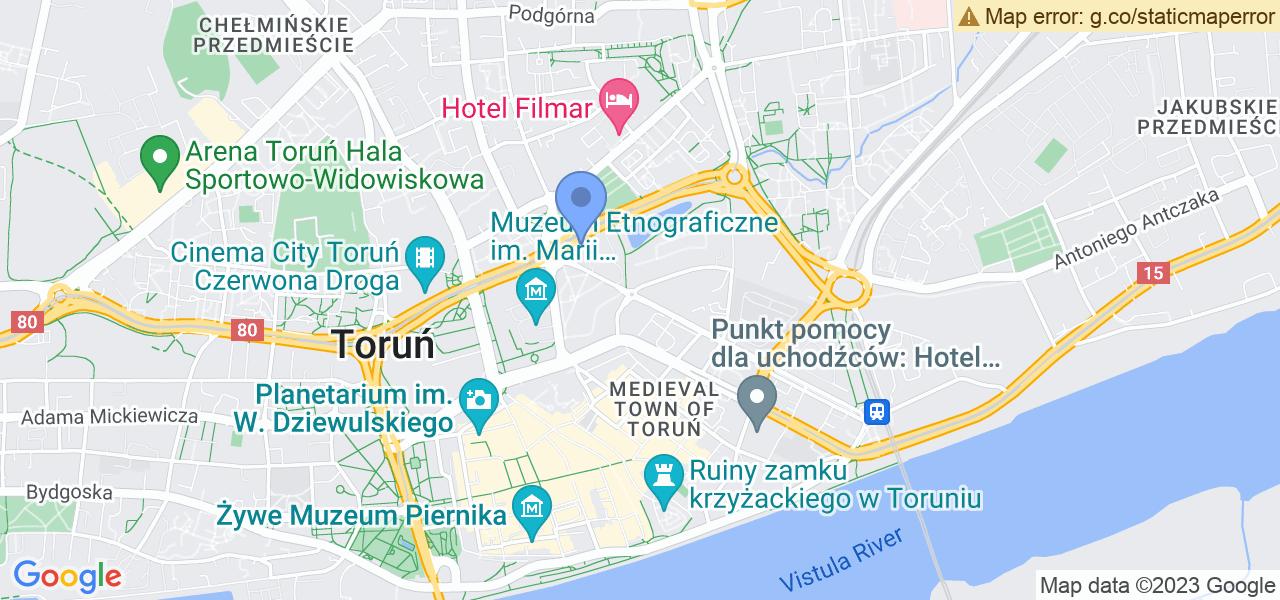 Jedna z ulic w Toruniu – Generała Jana Henryka Dąbrowskiego i mapa dostępnych punktów wysyłki uszkodzonej turbiny do autoryzowanego serwisu regeneracji