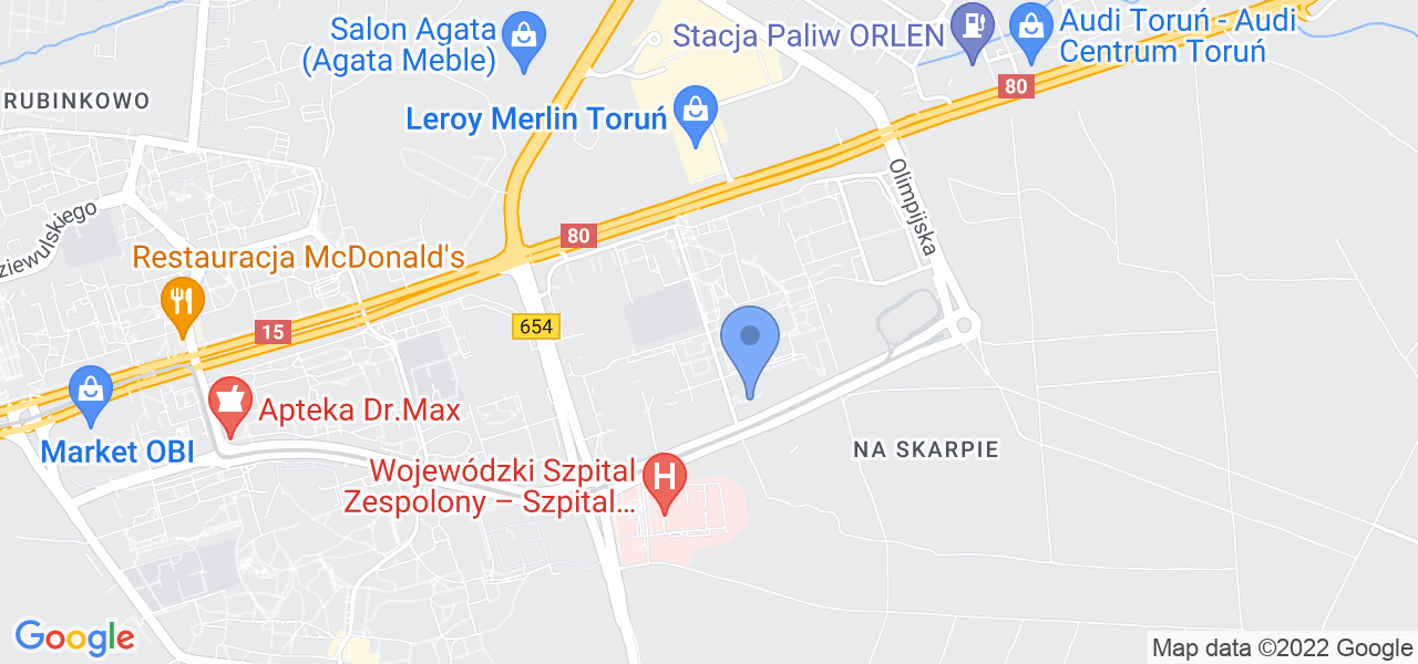 Jedna z ulic w Toruniu – Kosynierów Kościuszkowskich i mapa dostępnych punktów wysyłki uszkodzonej turbiny do autoryzowanego serwisu regeneracji