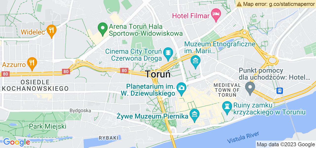 Jedna z ulic w Toruniu – Kujawska i mapa dostępnych punktów wysyłki uszkodzonej turbiny do autoryzowanego serwisu regeneracji