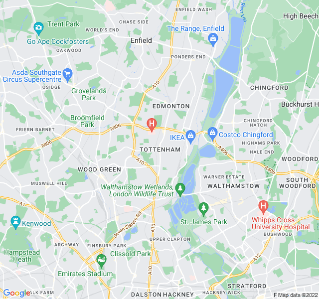 Website Designer Tottenham Google map of location