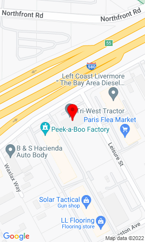 Google Map of Tri-West Tractor, Inc. 6281 Southfront Road, Livermore, CA, 94551