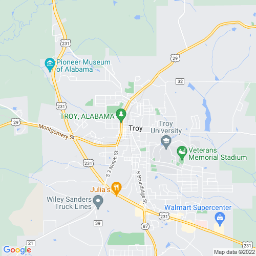 Map of Troy, AL