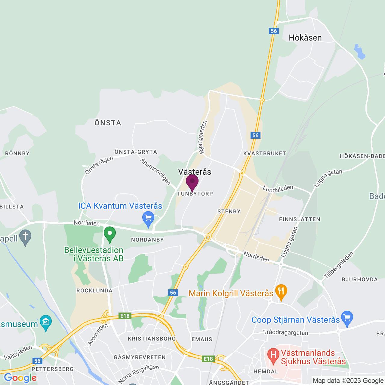 Kort över Tunbytorpsgatan 23