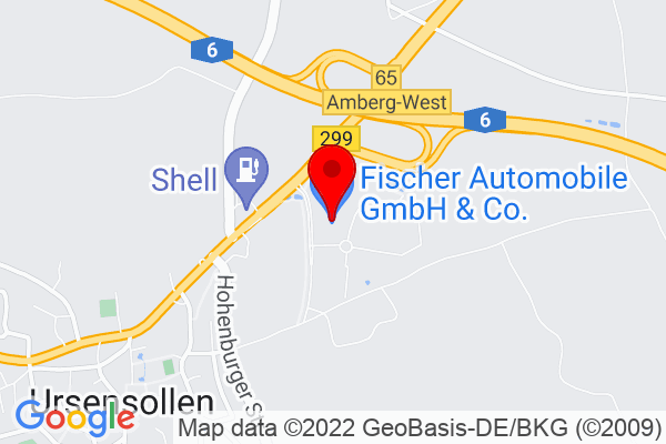 Google Map of URSENSOLLEN  Fischer Automobile GmbH & Co. KG Juraallee 1-3 92289 Ursensollen