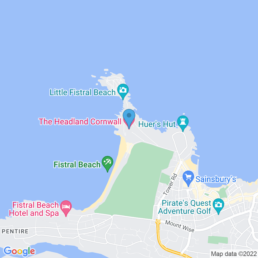 Google Map of Unit+1+Fistral+Beach+Complex+Headland+Road+Newquay+United+Kingdom+TR7+1HY
