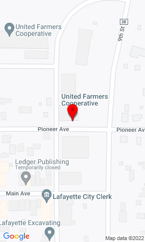Google Map of United Farmers Cooperative 840 Pioneer Avenue, Lafayette, MN, 56054,