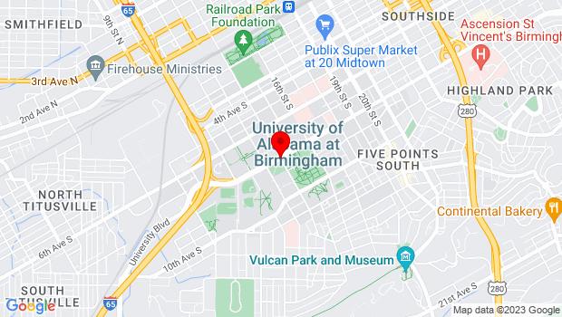 Google Map of University Blvd and 14th Street, Birmingham, AL 35205