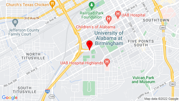 Google Map of University Blvd at 11th Street S, Birmingham, AL 35294