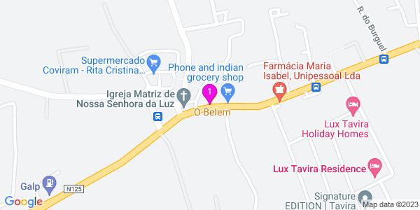 Google Map of Urbanização Tavira Garden Colina das Alfarrobeiras/ Estrada Nacional 125 8800 221 Lote 11 Estrada Nacional 125 Tavira