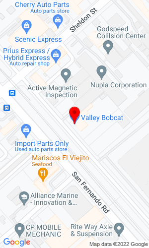 Google Map of Valley Bobcat, Inc. 9324 San Fernando Road, Sun Valley, CA, 91352