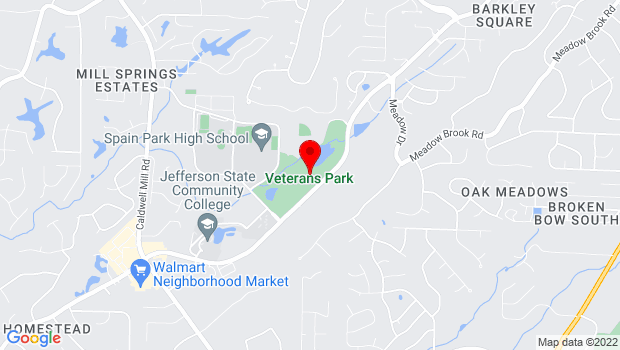 Google Map of Veterans Park - 4800 Valleydale Rd, Birmingham, AL 35242, Birmingham, AL 35242