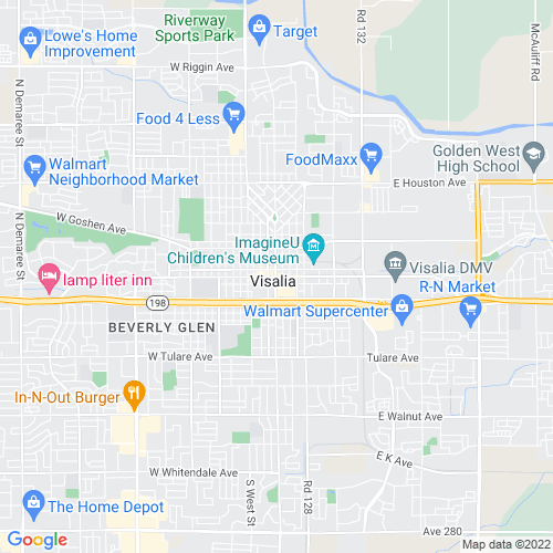 Map of Visalia, CA