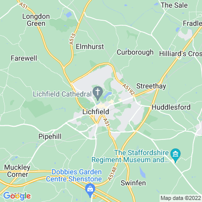 Lichfield Cathedral Close and Linear Park Location