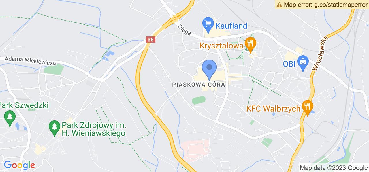 Jedna z ulic w Wałbrzychu – Janusza Kusocińskiego i mapa dostępnych punktów wysyłki uszkodzonej turbiny do autoryzowanego serwisu regeneracji