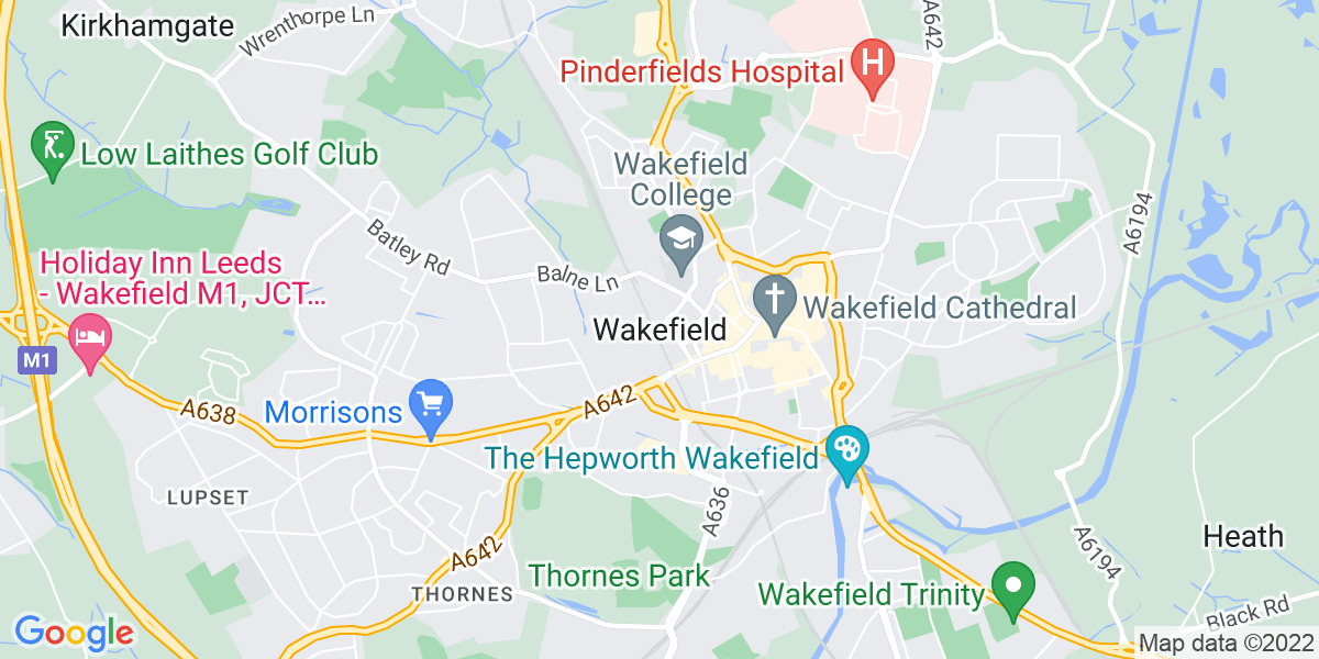 Map: Marie Curie Fundraising Promoter - Shopping Centres -  part-time, weekly pay, flexible hours job in Wakefield