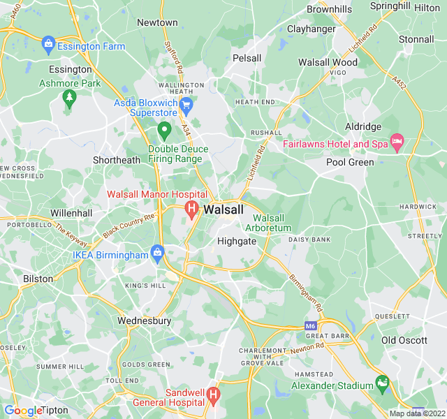 Website Designer Walsall Google map of location