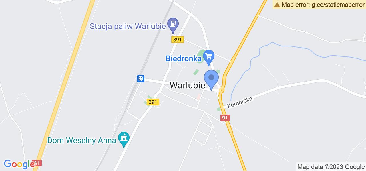 Jedna z ulic w Warlubiu – Dworcowa i mapa dostępnych punktów wysyłki uszkodzonej turbiny do autoryzowanego serwisu regeneracji