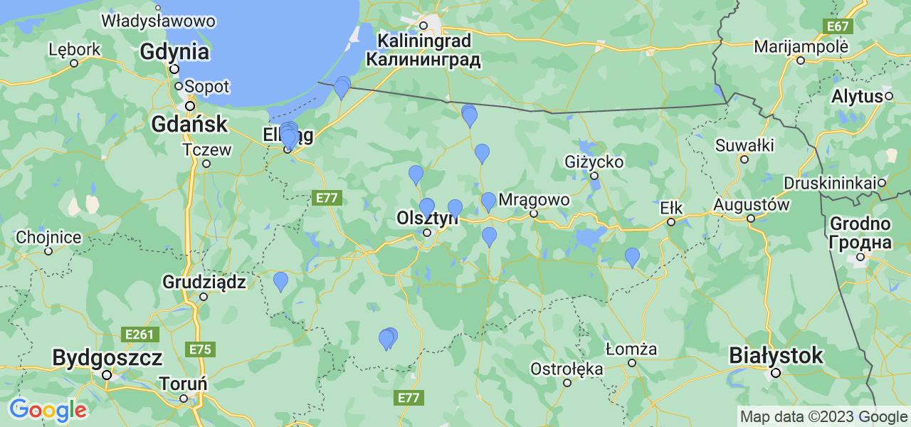 Mapka dostępnych punktów wysyłki filtrów cząstek stałych do profesjonalnego czyszczenia w serwisie na terenie województwa warmińsko-mazurskiego