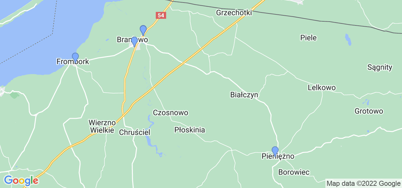 Mapka lokalizacji punktów nadania, z których mogą korzystać klienci serwisu regeneracji turbo w celu wysłania turbosprężarki – powiat braniewski