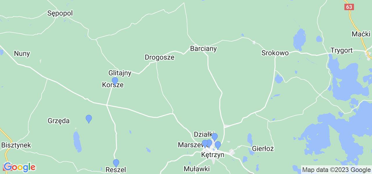Mapka lokalizacji punktów nadania, z których mogą korzystać klienci serwisu regeneracji turbo w celu wysłania turbosprężarki – powiat kętrzyński