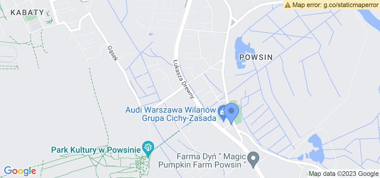 Jedna z ulic w Warszawie – Drewny i mapa dostępnych punktów wysyłki uszkodzonej turbiny do autoryzowanego serwisu regeneracji