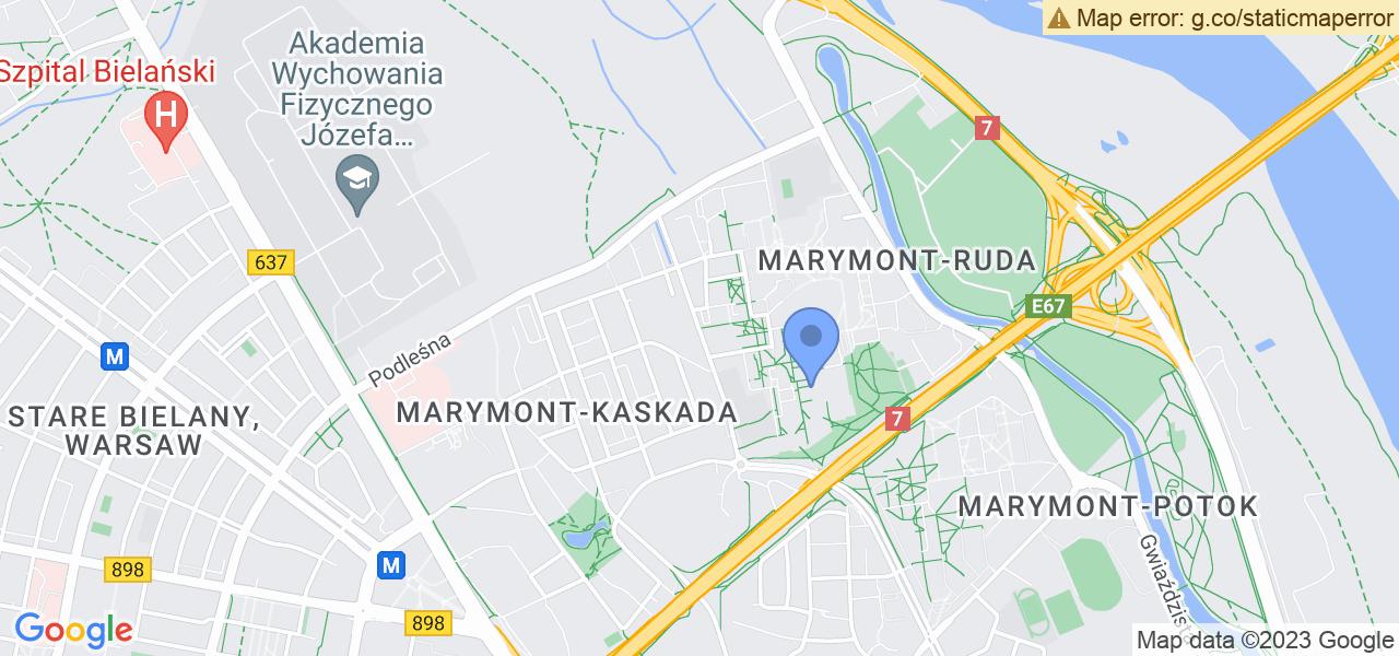 Jedna z ulic w Warszawie – Klaudyny i mapa dostępnych punktów wysyłki uszkodzonej turbiny do autoryzowanego serwisu regeneracji