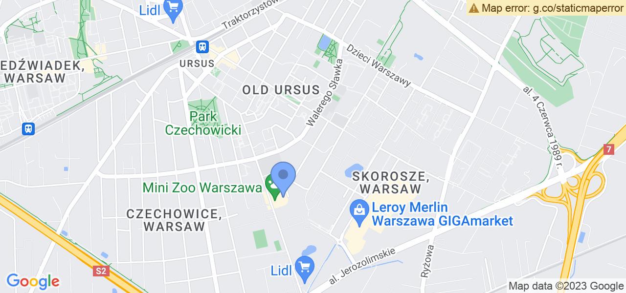 Jedna z ulic w Warszawie – Kolorowa i mapa dostępnych punktów wysyłki uszkodzonej turbiny do autoryzowanego serwisu regeneracji