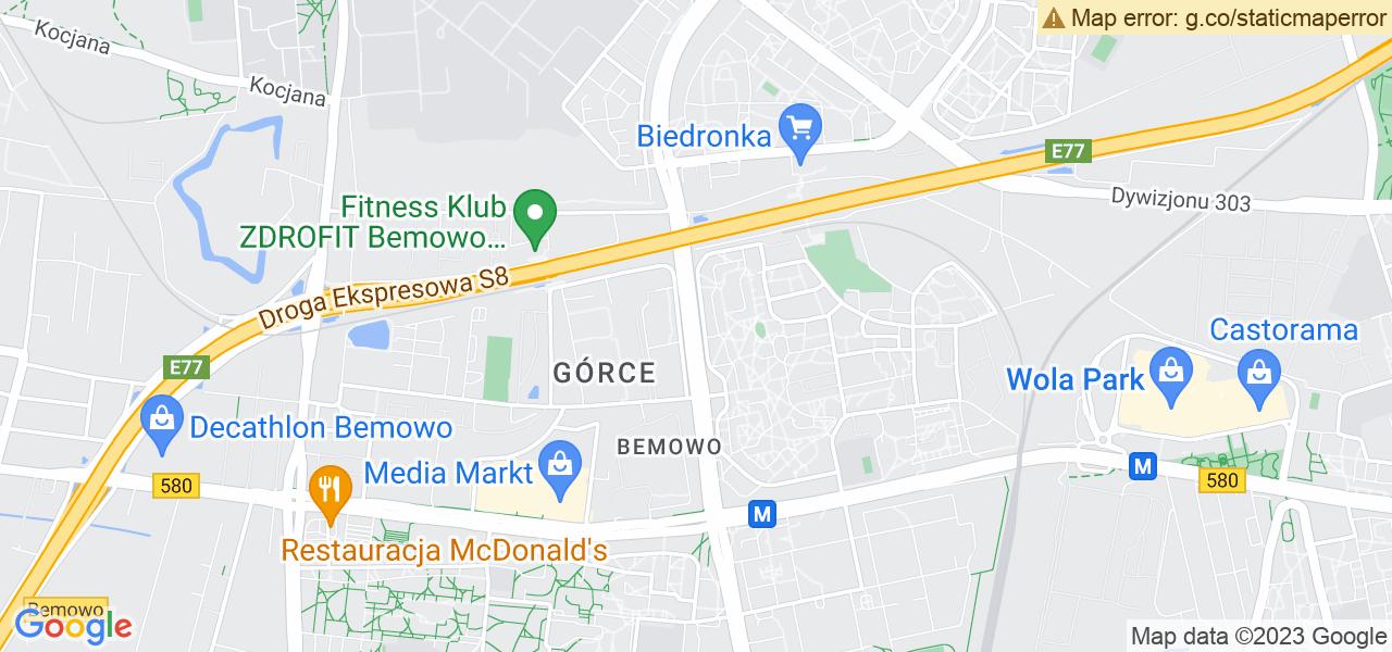 Jedna z ulic w Warszawie – Powstańców Śląskich i mapa dostępnych punktów wysyłki uszkodzonej turbiny do autoryzowanego serwisu regeneracji