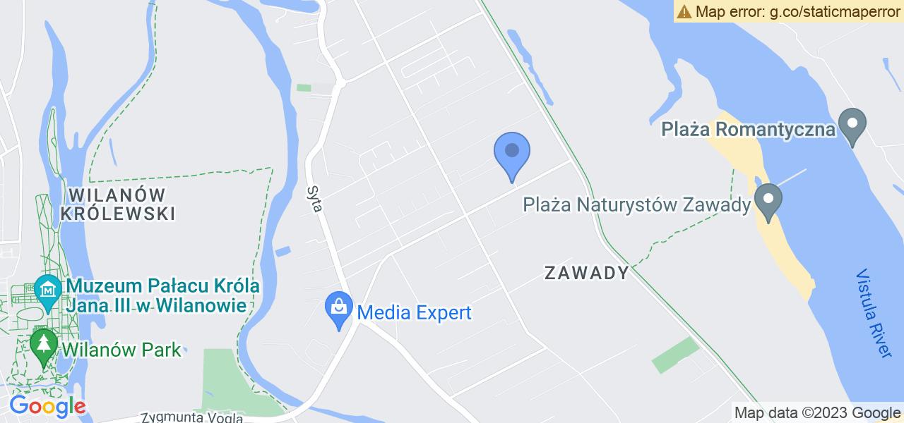 Jedna z ulic w Warszawie – Zaściankowa i mapa dostępnych punktów wysyłki uszkodzonej turbiny do autoryzowanego serwisu regeneracji