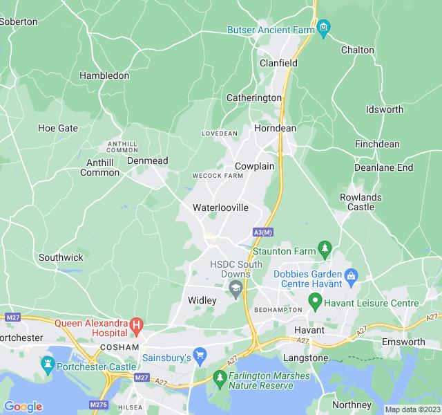 Website Designer Waterlooville Google map of location