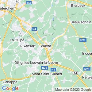 Werkgebied van onze bestrijder in Waver
