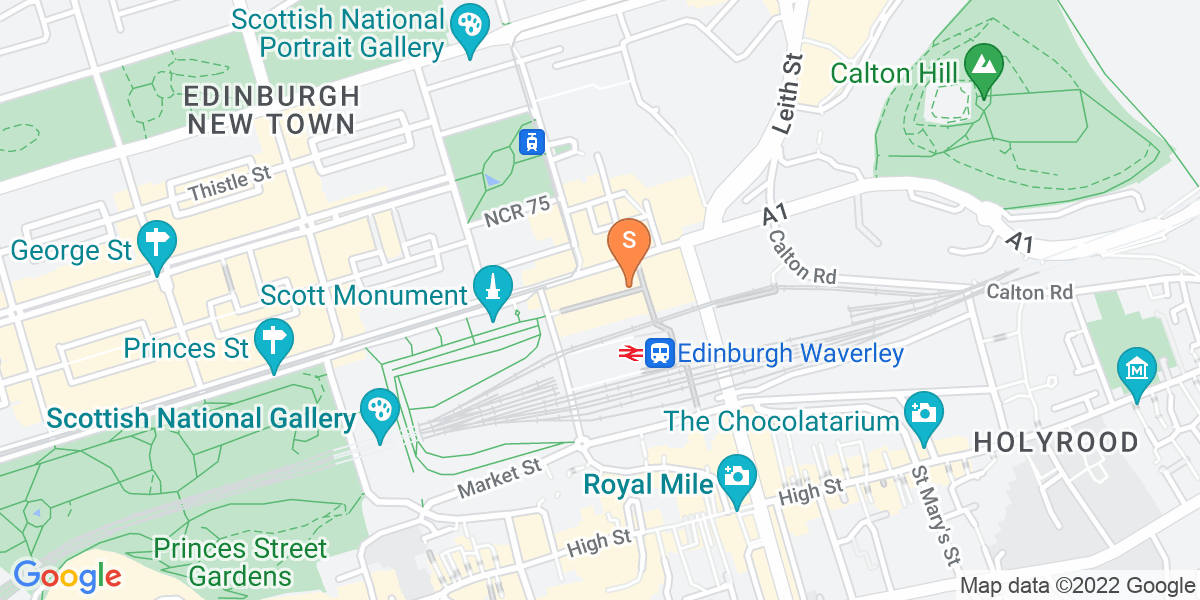Google Map of Waverley Mall Princes Street Edinburgh EH1 1BQ