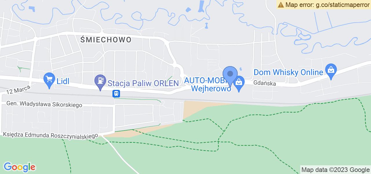 Jedna z ulic w Wejherowie – Gdańska i mapa dostępnych punktów wysyłki uszkodzonej turbiny do autoryzowanego serwisu regeneracji