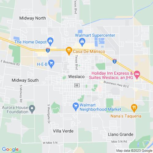 Map of Weslaco, TX