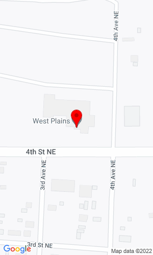 Google Map of West Plains Implement Company Hwy 10 East, Beach, ND, 58621-0128,