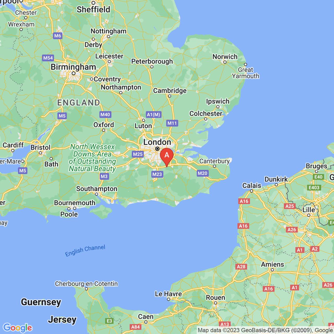 Westerham, England Map