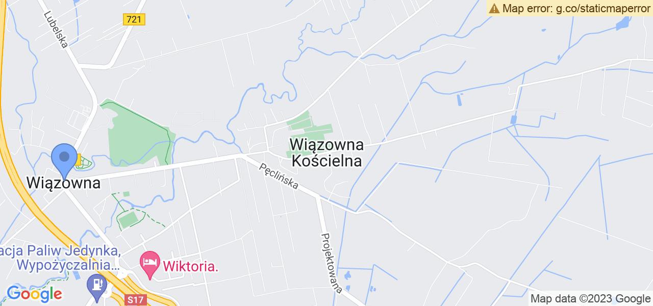 Jedna z ulic w Wiązownie – Kościelna i mapa dostępnych punktów wysyłki uszkodzonej turbiny do autoryzowanego serwisu regeneracji