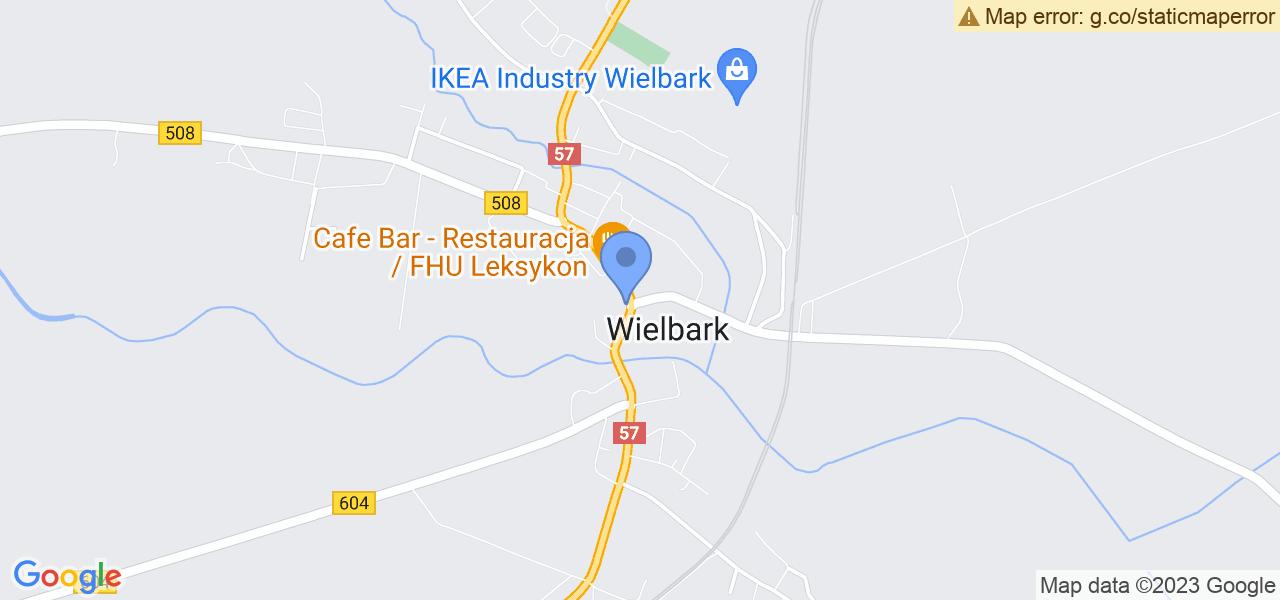 Jedna z ulic w Wielbarku – Władysława Jagiełły i mapa dostępnych punktów wysyłki uszkodzonej turbiny do autoryzowanego serwisu regeneracji