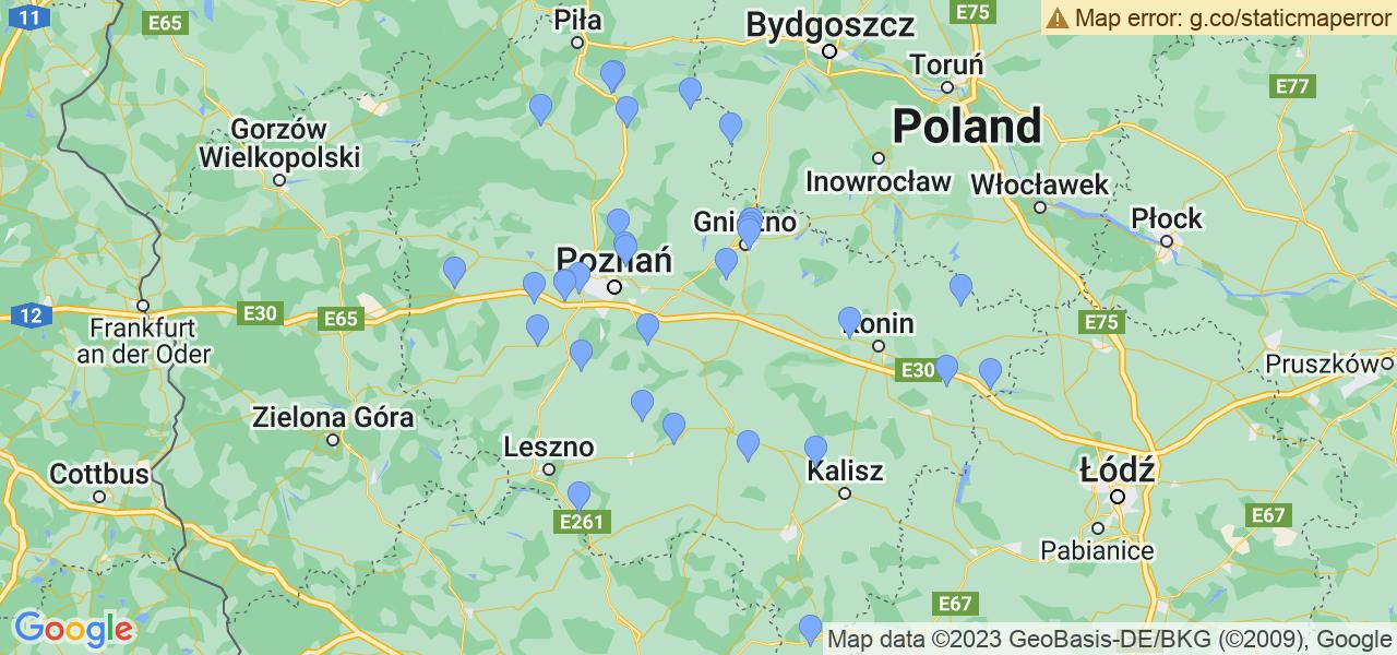 Rozmieszczenie punktów odbioru turbosprężarek do regeneracji w województwie wielkopolskim