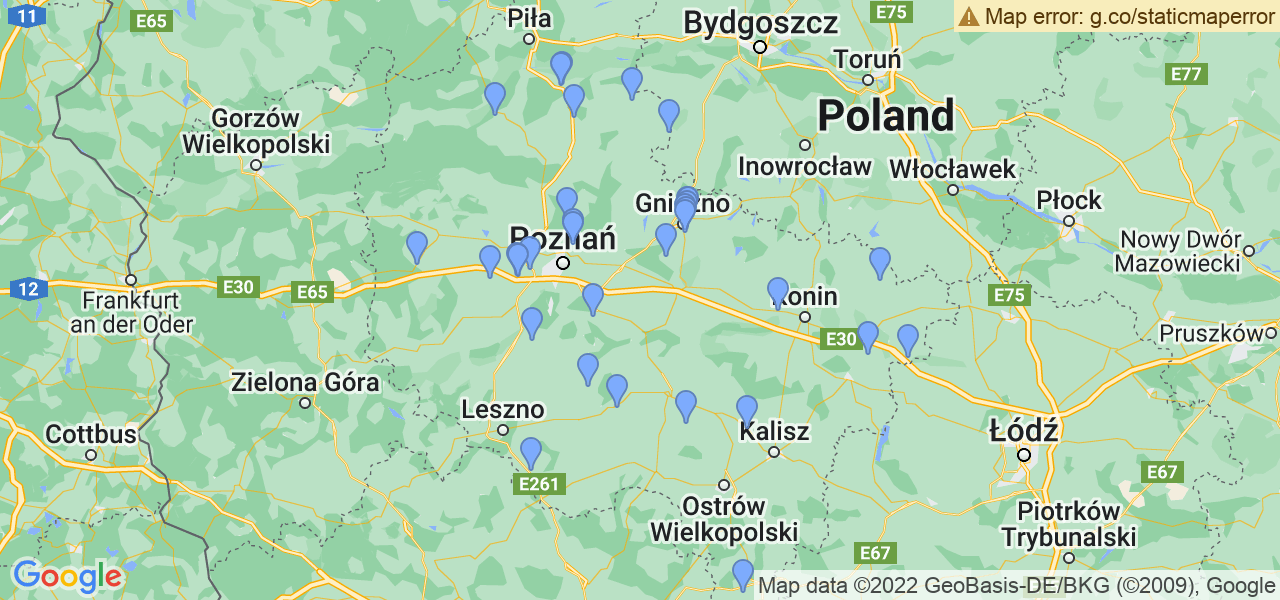 Mapka dostępnych punktów wysyłki filtrów cząstek stałych do profesjonalnego czyszczenia w serwisie na terenie województwa wielkopolskiego