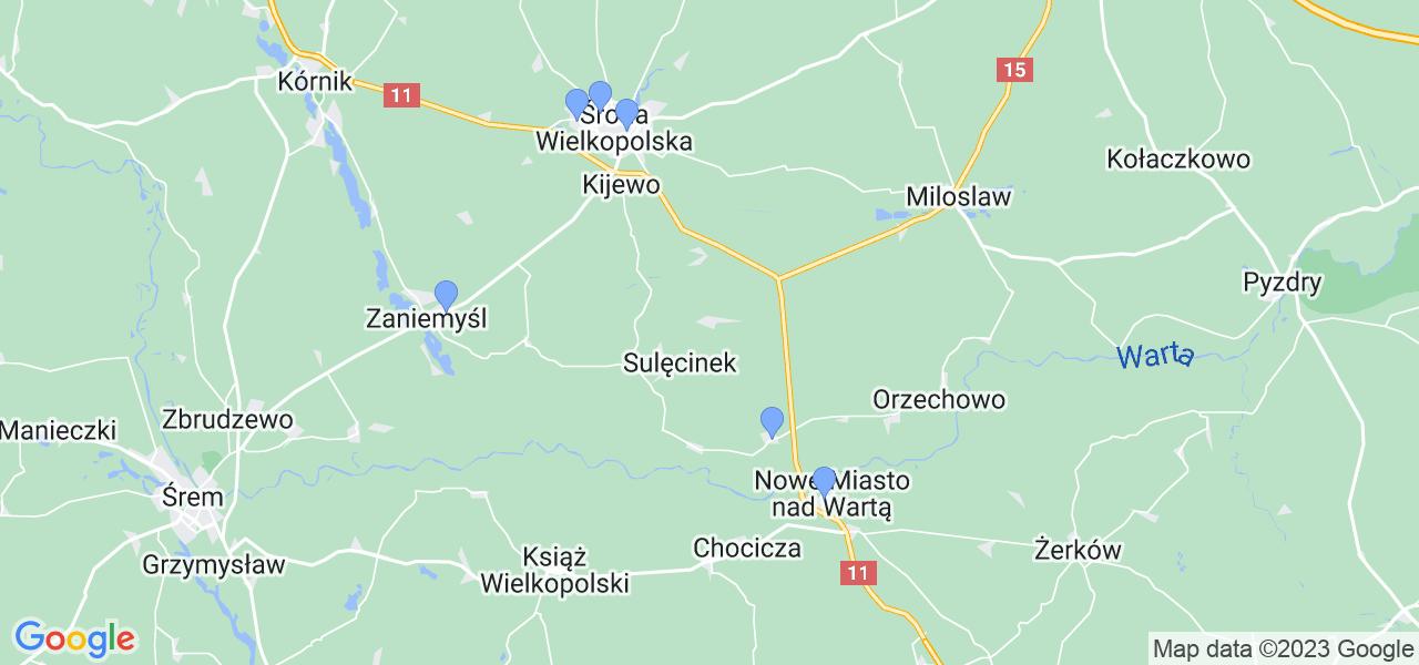 Mapka lokalizacji punktów nadania, z których mogą korzystać klienci serwisu regeneracji turbo w celu wysłania turbosprężarki – powiat średzki