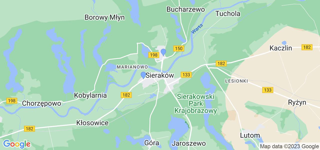 Dostępne w Sierakowie lokalizacje punktów nadania, z których możesz skorzystać, chcąc wysłać turbinę do regeneracji w największym serwisie w Polsce