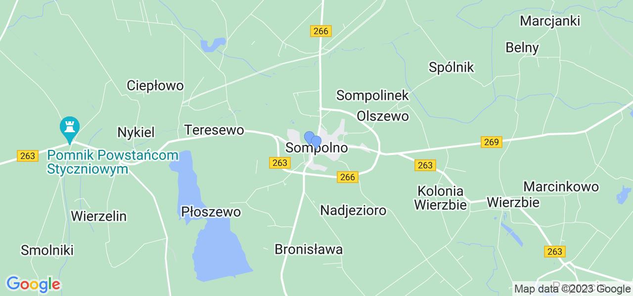 Dostępne w Sompolnie lokalizacje punktów nadania, z których możesz skorzystać, chcąc wysłać turbinę do regeneracji w największym serwisie w Polsce