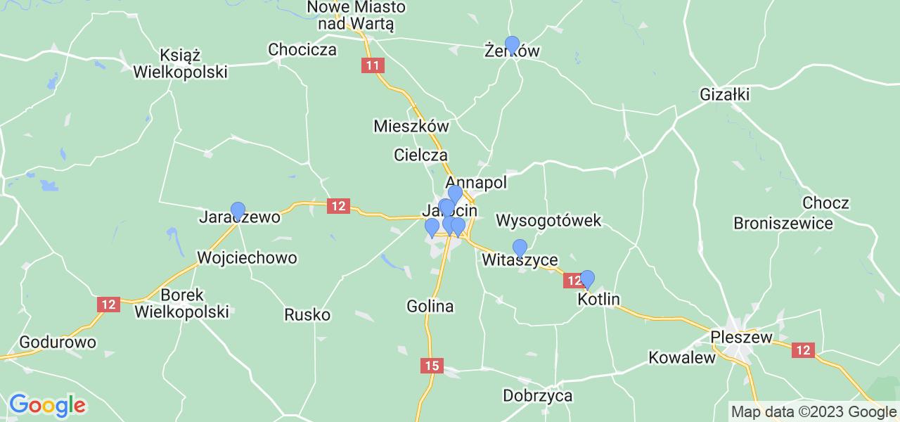 Mapka lokalizacji punktów nadania, z których mogą korzystać klienci serwisu regeneracji turbo w celu wysłania turbosprężarki – powiat jarociński