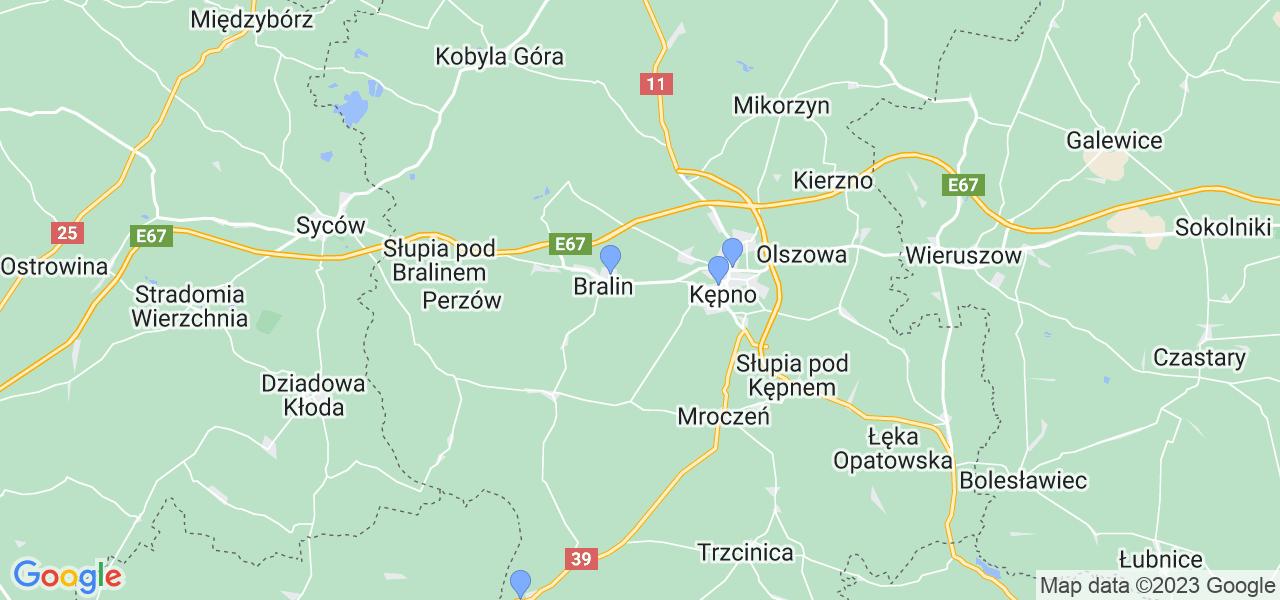 Mapka lokalizacji punktów nadania, z których mogą korzystać klienci serwisu regeneracji turbo w celu wysłania turbosprężarki – powiat kępiński