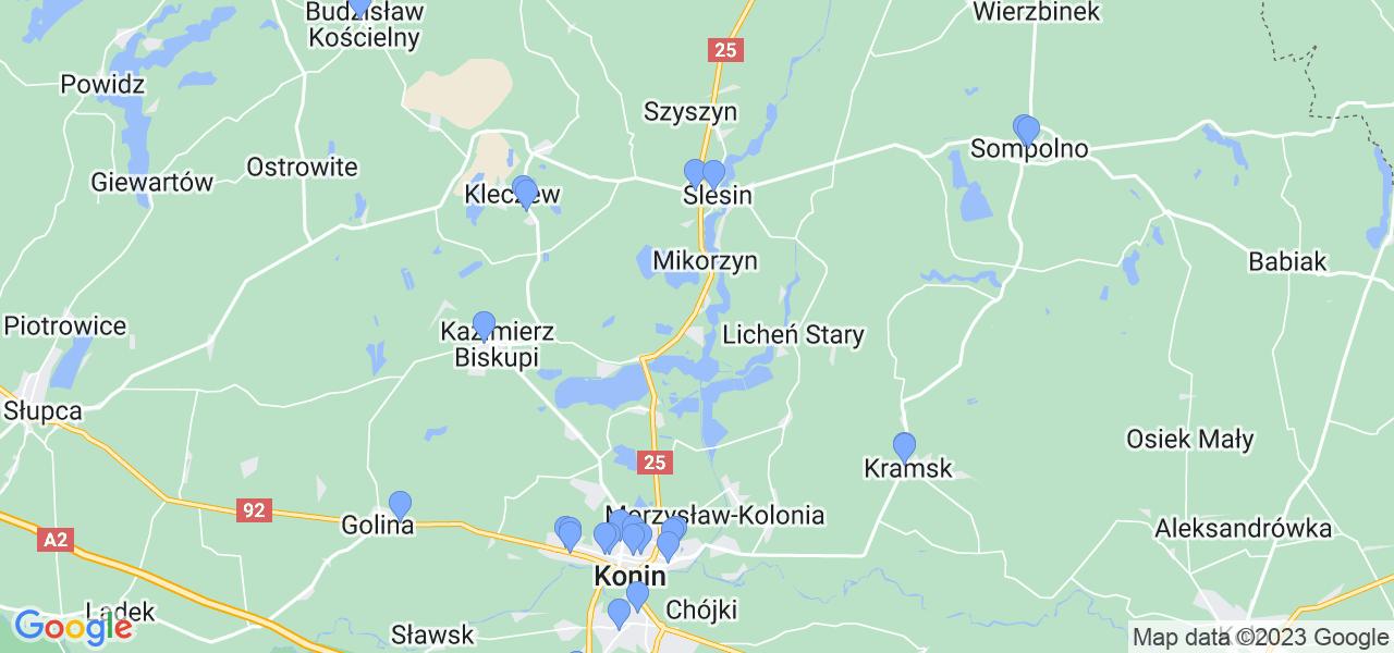 Mapka lokalizacji punktów nadania, z których mogą korzystać klienci serwisu regeneracji turbo w celu wysłania turbosprężarki – powiat koniński