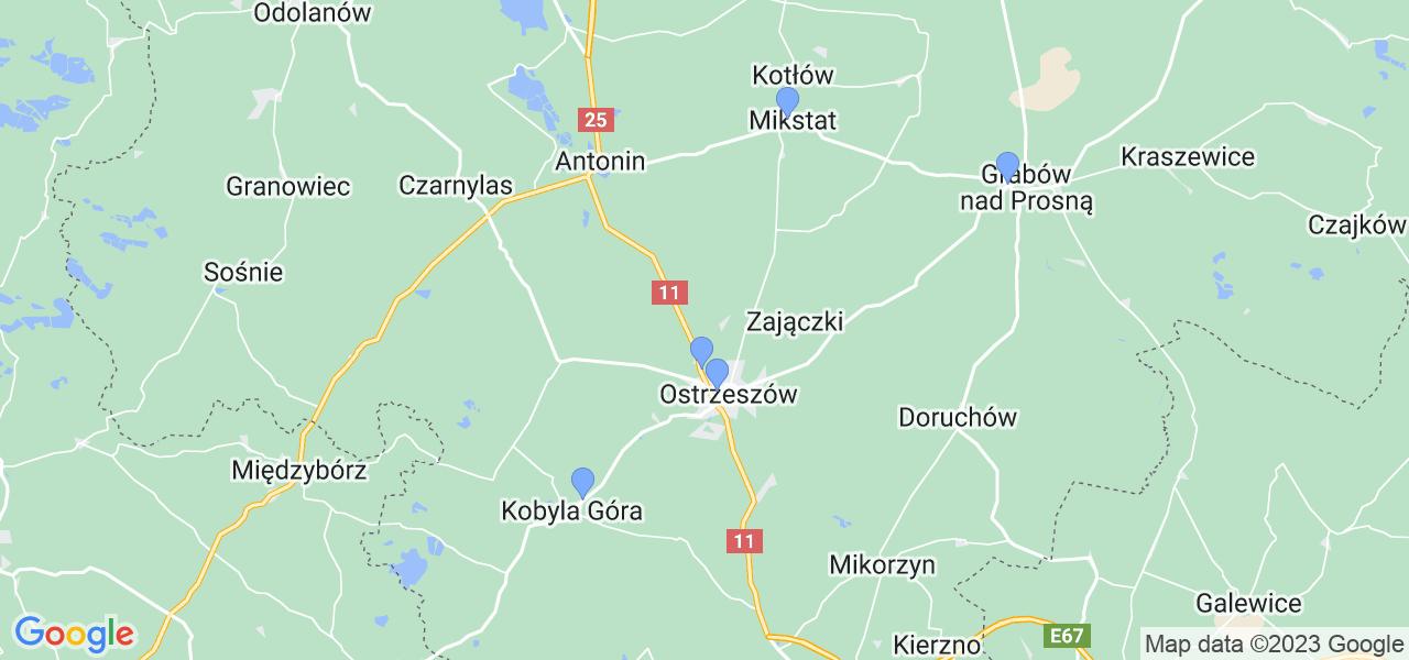 Mapka lokalizacji punktów nadania, z których mogą korzystać klienci serwisu regeneracji turbo w celu wysłania turbosprężarki – powiat ostrzeszowski