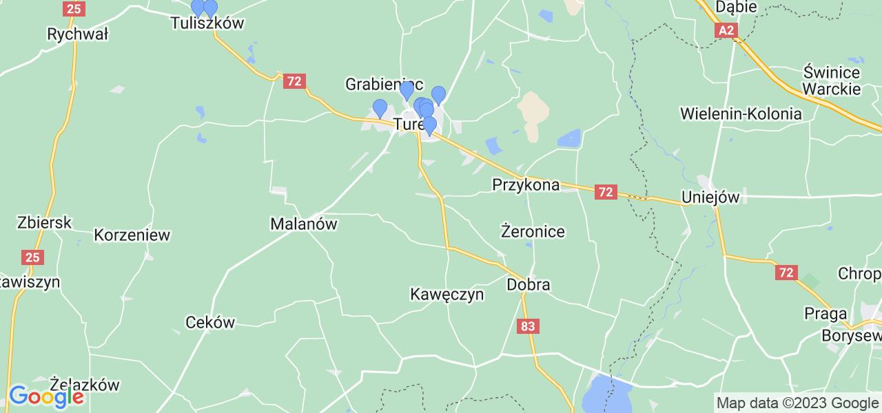 Mapka lokalizacji punktów nadania, z których mogą korzystać klienci serwisu regeneracji turbo w celu wysłania turbosprężarki – powiat turecki